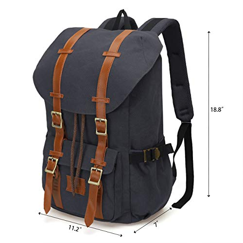 ONEB Casual Laptop Canvas Backpack Unisex Vintage Leather School Bags Large Capacity Hiking Travel Rucksack Business Daypack (19 inches Black) by ONEB (Image #2)