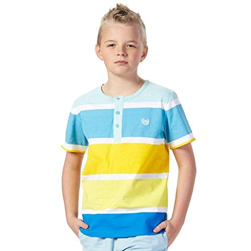 (Leo&Lily Big boys'Kids Short Sleeve Stripes Jersey Crew-Neck Cardigan T-Shirts (Blue, 16))