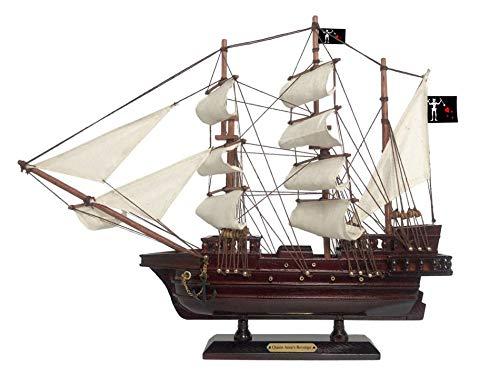 Hampton Nautical Wooden Blackbeard's Queen Anne's Revenge White Sails Pirate Ship Model 15