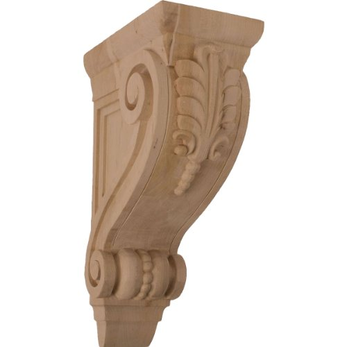 Ekena Millwork COR04X08X13FICH-CASE-2 4 3/4 inch W x 8 inch D x 13 1/4 inch H Large Fig Leaf Corbel, Cherry (2-Pack),