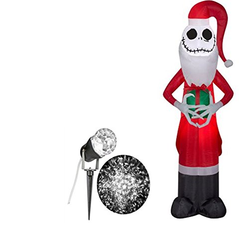 Disney Halloween Inflatable Airblown Jack Skellington as Santa 5.5' ' Tall & Outdoor Lightshow White Spot Light Kaleidoscope (Disney Halloween Airblown Inflatables)