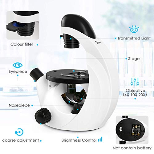 TELMU Microscope 40X-320X with Phone Adapter, Portable Inverted Microscope Kit Cordless LED, Optical Glass Lenses Student Biological Compound Microscope