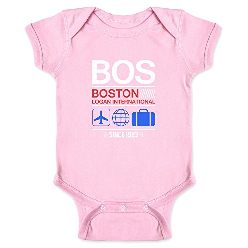 Pop Threads Bos Boston Logan Airport Code Since 1923 Travel Pink 6M Infant Bodysuit