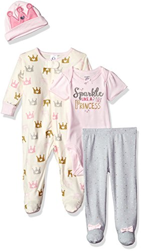 (Gerber Baby Girls' 4-Piece Sleep 'N Play, Onesies, Pant and Cap, Princess, 3-6 Months)