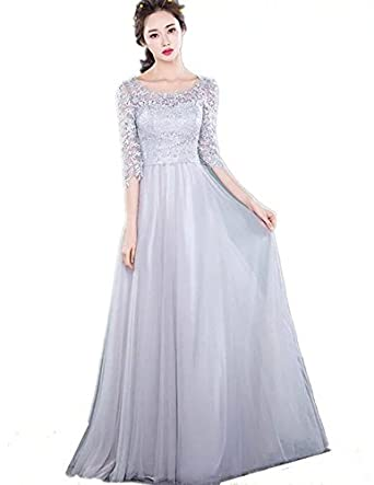 Korean Style Pink Party Annual Dress Long Dress Slim Dress Grey L At