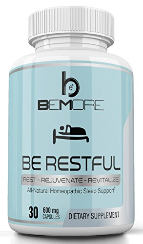 BE RESTFUL | Natural Sleep Aid | Non-Habit Forming Sleep Supplement with Valerian Root + Melatonin + Hops to Fall Asleep Faster, Get More REM Deep Sleep, and Wake Up Alert & Refreshed (Wellness Nutrition Sleep Aid)