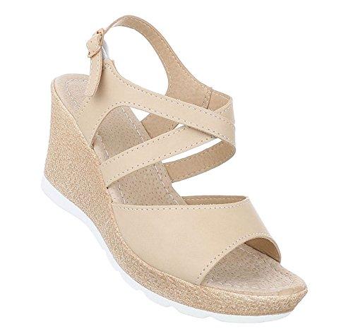 Damen Sandaletten Schuhe High Heels Keil Wedges Pumps Beige