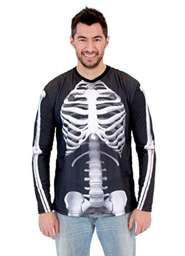[White Skeleton Adult Long Sleeve Costume T-Shirt (Adult X-Large)] (Bones Adult Skeleton Costumes)