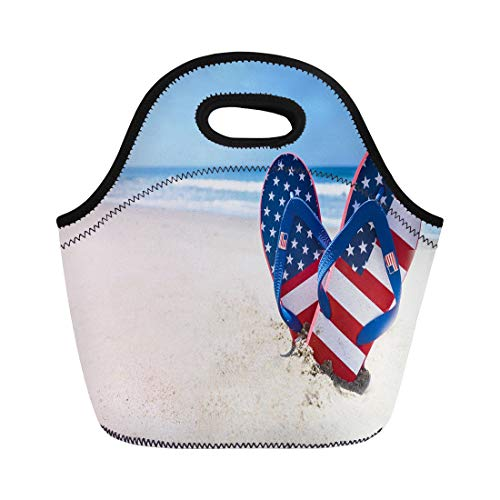 Semtomn Lunch Tote Bag Blue July Patriotic Usa Flip Flops Sandy Beach Red Reusable Neoprene Insulated Thermal Outdoor Picnic Lunchbox for Men Women