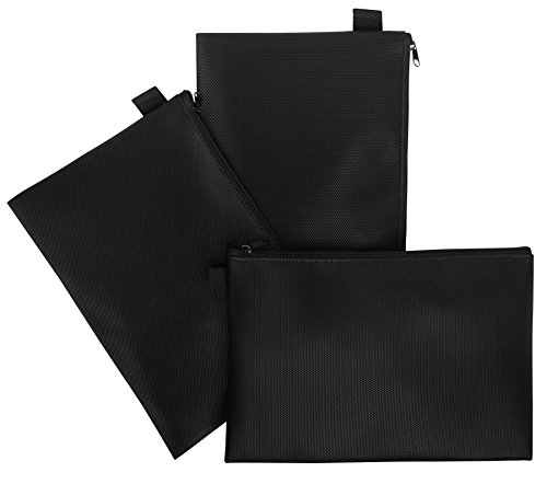 Zipper Bag - Set Of 3 - Carry All Pouch To Organize Travel Toiletries Pens Cosmetics (9.5 x 6.5, Black)