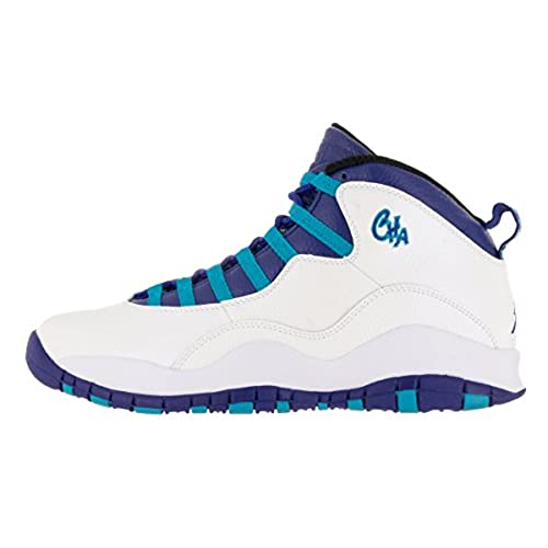 0c97db3a7e7c5e Nike Jordan Men s Air Jordan Retro 10 White Concord Blue Lagoon Blk  Basketball Shoe 8.5