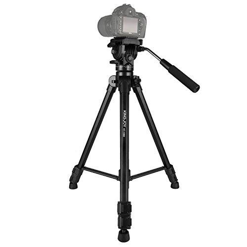 Crazefoto Professional 65''/166cm Fluid Head Tripod,VT-1500 Adjustable Camera Video Tripod Legs Stand with Detachable Fluid Drag Pan Tilt Head for Canon Nikon Sony DSLR Camera Camcorder Video Shooting by Kamisafe