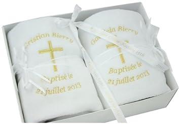 Personalised Embroidered Twins Christening Blanket Gift Set (White): Amazon.co.uk: Baby