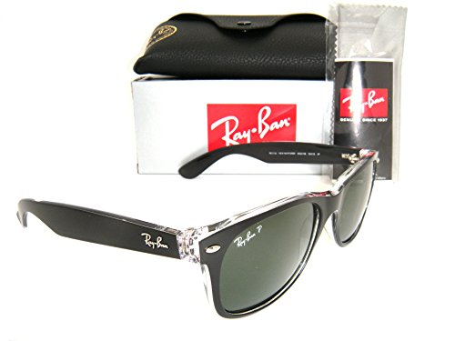 New Authentic Ray-Ban New Wayfarer RB 2132 6052/58 55mm Black / Green - Ban Ray Black 2132