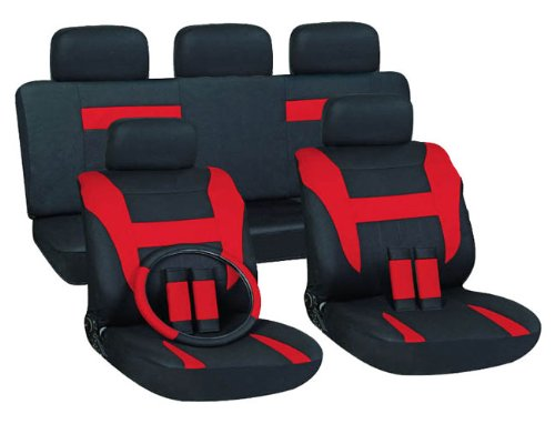 OxGord 17pc Black & Red Flat Cloth Seat Cover Set for the Mitsubishi Eclipse Convertible, Airbag Compatible, Split Bench, Steering Wheel Cover Included