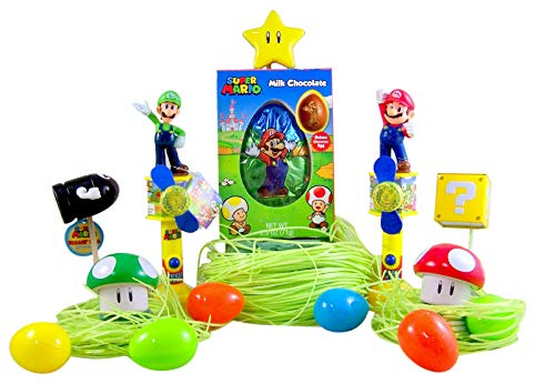 Premium Nintendo Super Mario Easter Basket Filler Kit with Toys, Grass, and Candy
