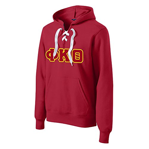 Greekgear Phi Kappa Theta Lace up Pullover Hooded Sweatshirt Large Deep ()