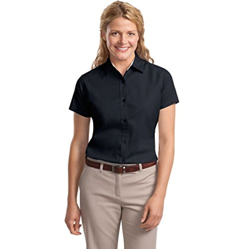 Port Authority Ladies Short Sleeve Easy Care Shirt, Classic Navy/Light Stone, Large