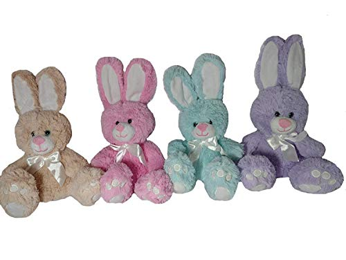 Animal Adventure Plush Pink, Light Blue, Light Brown, Purple Easter Bunnies Pack of 4 -