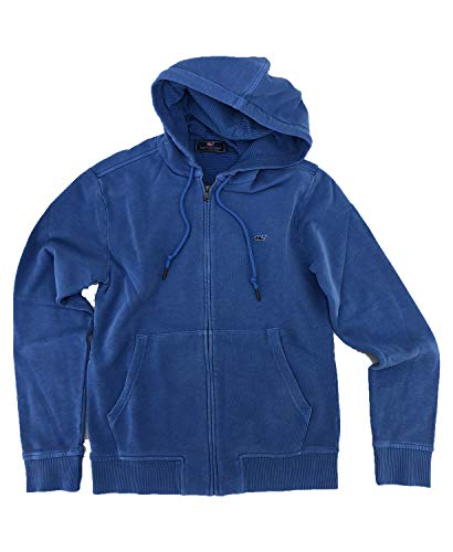 Vineyard Vines Men's Garment-Dyed Full Zip Hoodie (Small, Hull Blue) (Men Vest Vineyard Vines)