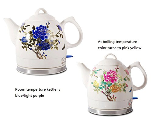 Electric Flower (FixtureDisplays Ceramic Electric Kettle with Peony Flower Pattern Two-tone No-Plastic Parts 15000 15000)