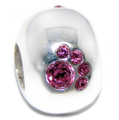 PJEWELRY 925 Solid Sterling Silver Pink Crystal Paw Prints Spacer Charm Bead