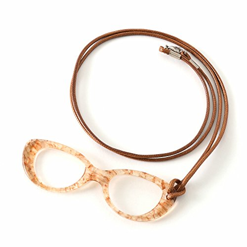 MIDI Cognac (pg004c1) Italian Fine Acetate Lorgnette Loupe with cord for women – Magnifying and Reading Glasses [all in ()