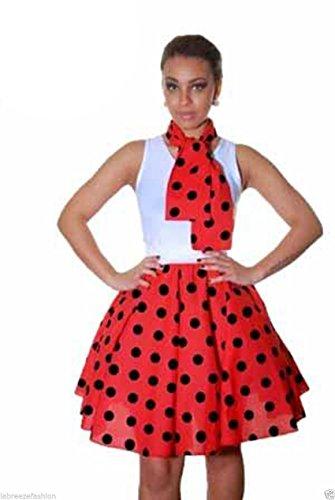 vas Court Poussin Jupes Femmes Pouces 22 Skater Polka Crazy Swing Dames Rouge GirlzWalk Dot noir wTpYz