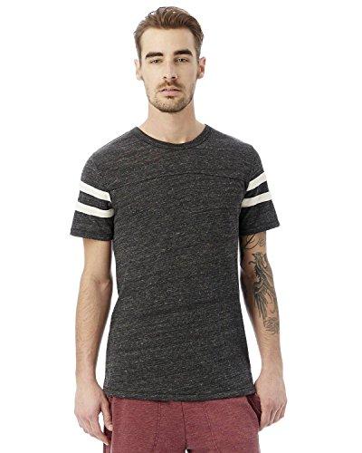 Alternative Mens Eco-Jersey Football T-Shirt XXX-Large Eco Black & Eco Ivory (Ivory Eco Yarn)