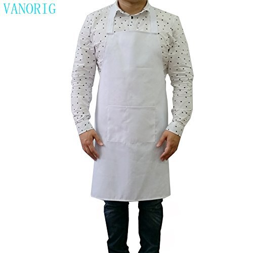 Durable Mens Apron Kitchen Apron VANORIG Cotton Cooking Apron Chef Apron with Pocket ,Pack of 1 (White) (White Cook Apron compare prices)