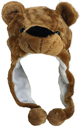 Plush Faux Fur Animal Critter Hat Cap - Soft Warm Winter Headwear - Short with Ear Poms and Flaps & Long with Scarf and Mittens available (Brown Bear - Short) (Bear Hat)
