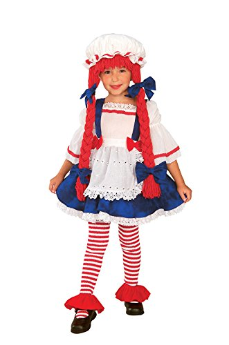 Girls Rag Doll Kids Child Fancy Dress Party Halloween Costume, S (4-6)