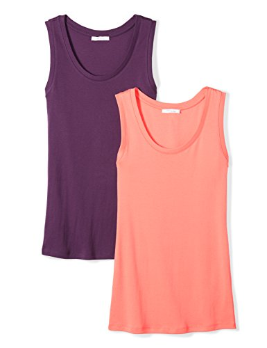 Tank Shirt Top Rib Basic (Daily Ritual Women's Midweight 100% Supima Cotton Rib Knit Sleeveless Shell Top, 2-Pack, XXL, Peach/Deep Purple)