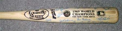 - 1969 New York Mets autographed baseball bat with 25 signatures Nolan Ryan Tom Seaver Agee Clendenon Koonce