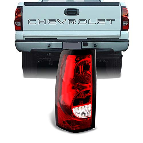 For 03-06 Chevy Silverado Pickup Truck Red Clear Tail Lights Driver Left Side Replacement Lamps