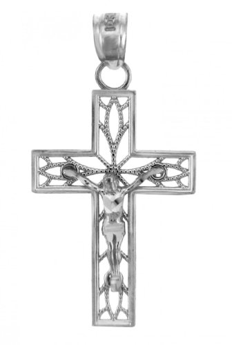 Religious Jewelry by FDJ 925 Sterling Silver Crucifix Filigree Charm Pendant