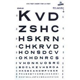 Grafco 1264 Snellen Type Plasic Eye Chart - 10Ft, 14