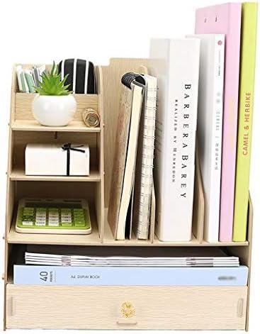 頑丈 ペンホルダーファイルボックス、木製多機能ニート、丈夫なテーブルストレージボックス、マガジンフォルダ事務所ディスプレイには、33 * 23 * 36センチスタンドラック (Color : A)