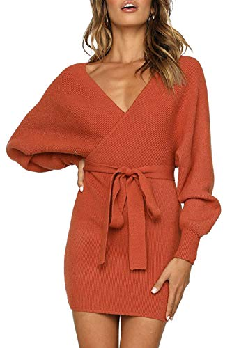 Junxiang Women's Sexy V Neck Wrap Belted Batwing Long Sleeve Backless Pencil Bodycon Knitted Mini Sweater Dress (Dresses Sweater Boots)