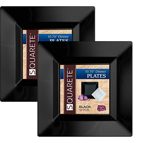Squarete 10.75'' inch Black Dinner Square Party Plates Hard Plastic Elegant Disposable Heavy Duty. 10 Square Dinner Plates Per Package Pack of -