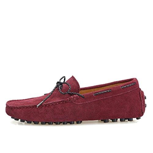 Minitoo hombre Slip On cadena nudo Fit Suede Loafers tipo Mocasín zapatos de barco rojo vino