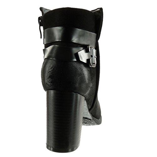 Cm Moda De Angkorly Tacón Vendimia Stile Negro Botines Ancho Mujer Talón Alto Hebilla 8 Zapatillas Tanga HAApra
