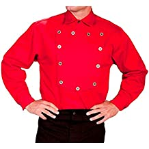 Scully Large Cotton Button Placket Pullover Bib Shirt - Red