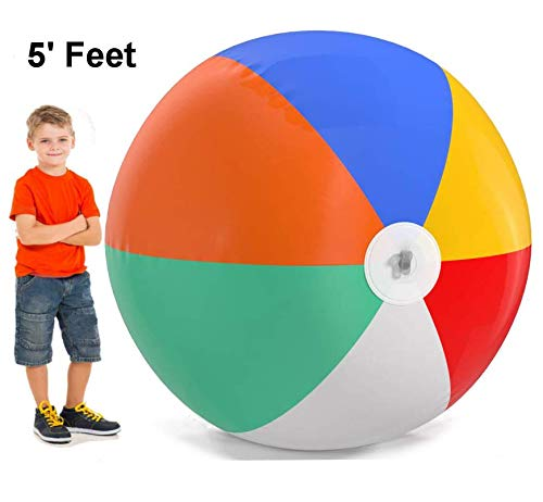 (Top Race Giant Inflatable Beach Balls 60 inch Pool Ball, Beach Summer Parties, and Gifts | 5 feet Tall Blow up Rainbow Color Beach)