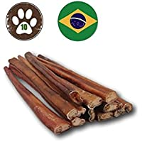 Top Dog Chews 12-inch Premium Odor-Free Angus Bully Sticks (10 Pack) Free Range, Grass Fed Angus Beef