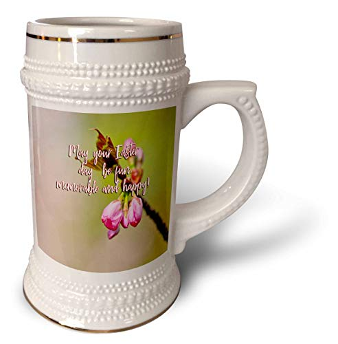 - 3dRose Alexis Design - Holidays Easter Greetings - May your Easter day be fun, memorable and happy. Pink sakura buds - 22oz Stein Mug (stn_308130_1)