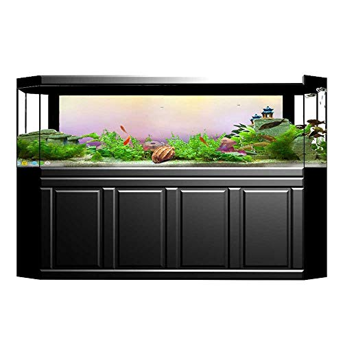 """Fish Tank Background Decor Static Image Backdrop Wallpaper Sticker Cling Decals Flower Bed with Blossoms Types Fresh Romantic Garden Paint Lilac Pink Wallpaper Sticker Background Decoration L23.6"""" x"""