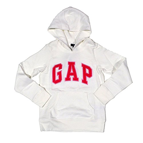 GAP Girls Fleece Arch Logo Pullover Hoodie (White, X-Small)