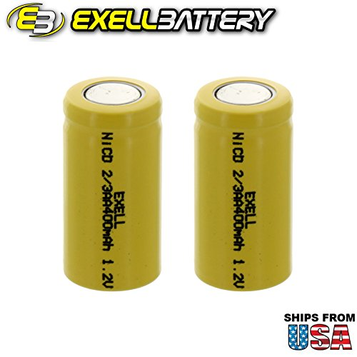 2x Exell 2/3AA 1.2V 400mAh NiCD Flat Top Rechargeable Batteries for meters, radios, hybrid automobiles, high power static applications (Telecoms, UPS and Smart grid), radio controlled devices