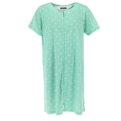 Elegant Emily Women's Zip Front Terry Short Sleeve Duster Robe, Medium, Green Polka Dot
